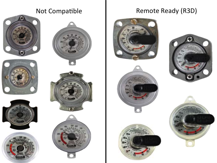 A Remote Ready (R3D) gauge face has a slot to hold a sensor. If you don't have a compatible gauge face, please get in touch with your propane supplier.